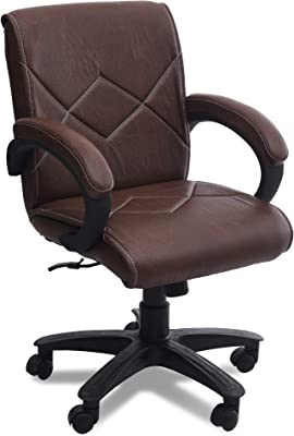 DZYN Furnitures Cross Low Back Office Executive Chair (Dark Brown)