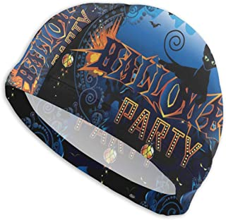 Smany Halloween Poster Adult Swim Caps,High Elasticity, No Deformation Use,UV Protection, Waterproof Comfy Swimming Bathing Cap for Men and Women