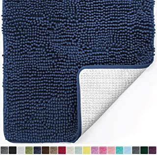 Gorilla Grip Original Luxury Chenille Bathroom Rug Mat, 60x24, Extra Soft and Absorbent Shaggy Rugs, Machine Wash Dry, Perfect Plush Carpet Mats for Tub, Shower, and Bath Room, Navy Blue