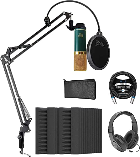 """2021 MXL V67G Large Capsule Condenser Microphone for Vocals and Acoustic Guitars Bundle with Blucoil 4x 12"""" Acoustic Wedges, 10-FT Balanced XLR Cable, Boom online Arm Plus Pop Filter, and Samson high quality SR350 Headphones outlet sale"""