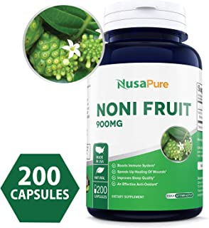 Noni Fruit 900mg 200caps (Non-GMO & Gluten Free) Powerful antioxidant, Boosts Immune System, Improves Hair & Skin Health
