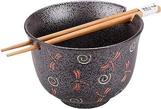 Happy Sales HSRB-GRYDRF, Ramen Udon Noodle Soup Cereal Bowl w/Chopsticks, Charcoal Grey Dragonfly Design
