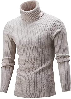 Cameinic Mens Casual Slim Fit Turtleneck Pullover Sweaters with Twist Patterned