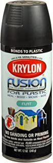 Krylon K02519007 Fusion for Plastic Aerosol Spray Paint, 12-Ounce, Flat Black
