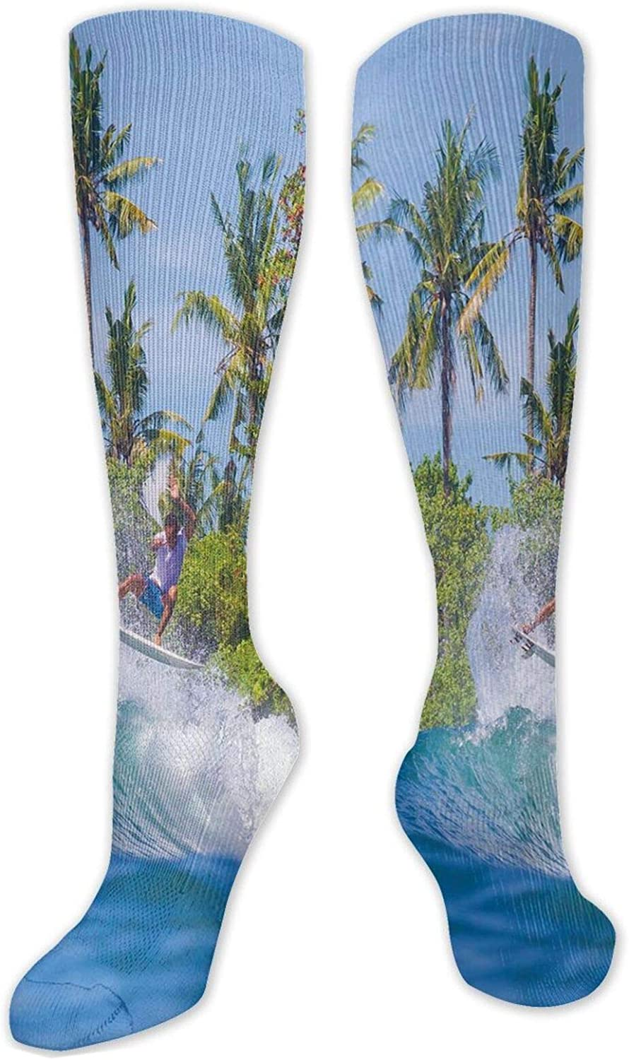Compression High Socks-Abstract Floral Background Traditional Ornaments Lines Dots Yuletide Best for Running,Athletic,Hiking,Travel,Flight