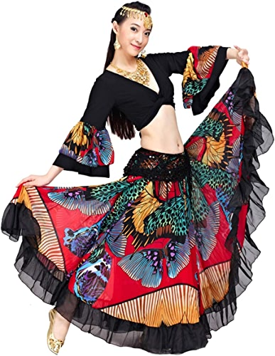 Insun Femme Costume de Danse du Ventre Gitane Tribal Danse Orientale Top et Maxi Jupe