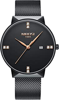NIBOSI Men's Fashion Ultra-Thin Mesh Belt Quartz Watch Waterproof Calendar Watches for Women Unisex