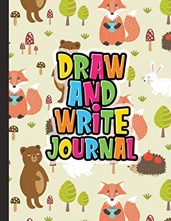 Draw And Write Journal: Kids Drawing & Writing Paper - Half Page Lined Paper with Drawing Space - Forest Friends Fox Bear Hedgehog Bunny
