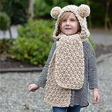 Baby Girls Boys Winter Hat Scarf Earflap Hood Scarves Caps (Beige Ball Kids Hat for 2-8 Years Old)