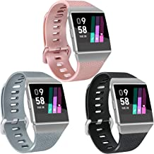 Vancle 3 Pack Rose Gold Silver Bands Compatible with Fitbit Ionic for Women Men, Classic Replacement Accessory Wristbands Compatible with Fitbit Ionic SmartWatch
