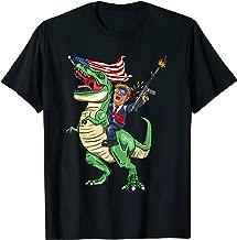 Machine Gun Trump On T Rex Dinosaur With American Flag T-Shirt