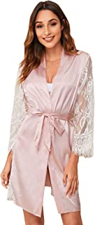Shein Women's Casual Lace Sleeve Belted Satin Lingerie Robe Pink M