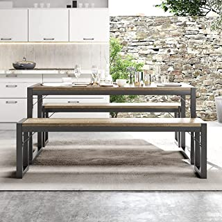 IMUsee Modern Industrial 3-Piece Soho Dining Table Set,...