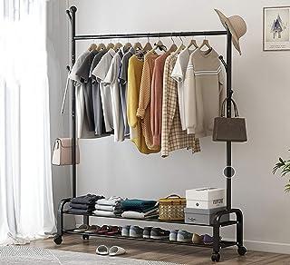 XQYPYL Porte-Manteau Portant à Vêtements sur Pied Meuble d'entrée avec Etagere Rangement Vetements Penderie avec étagère à...
