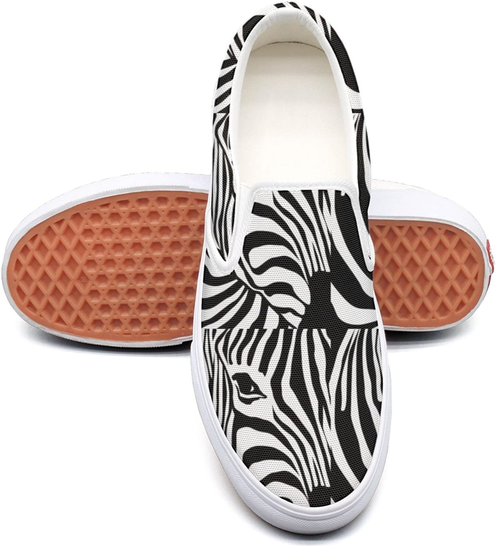 SEERTED Zebra Black and White Stripe Womens Casual Sneakers Slip On