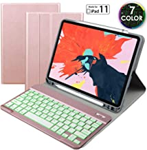 Eoso Keyboard case for Apple iPad Pro 11 2018 with 7 Color Backlight Keyboard,Removable Magnet Bluetooth Keyboard Built-in Pencil Holder (for iPad 11, Rose Gold)