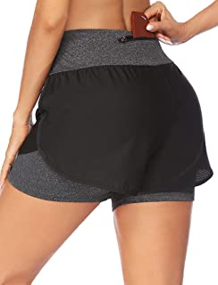 """ADOME Womens Running Shorts 2 in 1 Athletic Shorts 3"""" Workout Shorts Mesh Outer Lining Gym Shorts with Zip Pockets"""