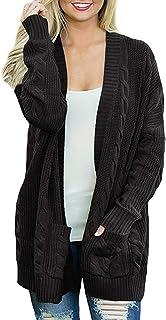Arjungo Women`s Oversized Open Front Long Sleeve Aran Cardigan Sweaters Cable Twist Knit Boyfriend Loose Outwear with Pockets
