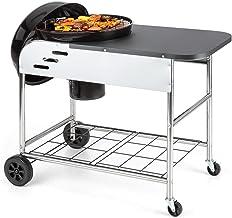 KLARSTEIN Meatpacker XXL Barbacoa de carbón Vegetal BBQ (Horno para ahumar, ahumador galvanizado, Parrilla portátil, Superficie preparación, Recipiente Cenizas, termómetro Integrado, Ruedas)
