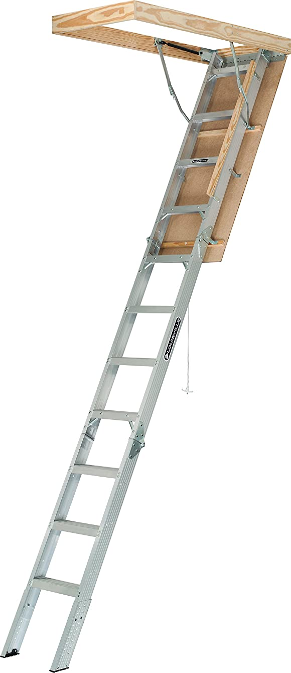 Louisville Ladder AA2210 Elite Aluminum Attic Ladder, 375 Pound Load Capaci, 22-1/2 x 54