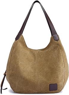 Hiigoo Fashion Damen Multi-Pocket Baumwolle Canvas Handtaschen Schultertaschen Totes Geldbörsen