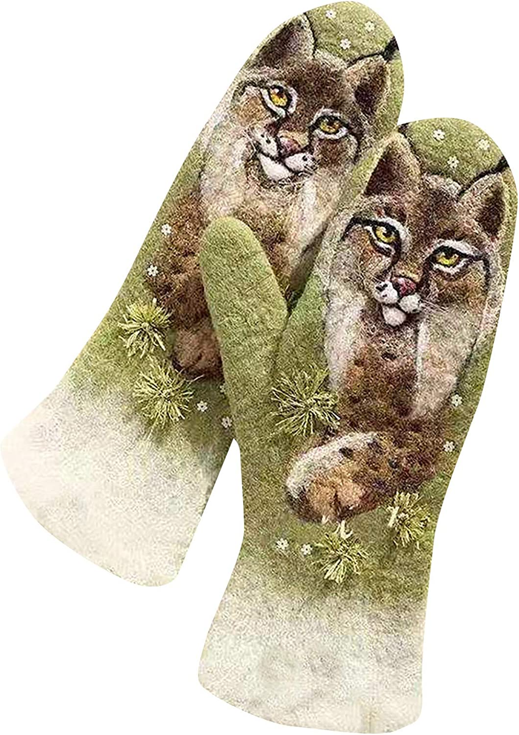 Women's Cashmere Padded Color Matching Animal Print Winter Warm Gloves Fashion/Prom/Warm/Bicycle Gloves