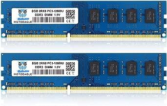 Motoeagle 16GB Kit (2x8GB) PC3 12800U DDR3 1600 UDIMM 2RX8 Dual Rank Non ECC Unbuffered 1.5V Desktop Computer Memory