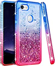 Ruky Google Pixel 3 XL Case, Pixel 3 XL Glitter Case, Colorful Quicksand Series Bling Diamond Soft Silicone Girls Women Protective Flowing Liquid Floating Cute Case for Google Pixel 3XL (Blue Pink)