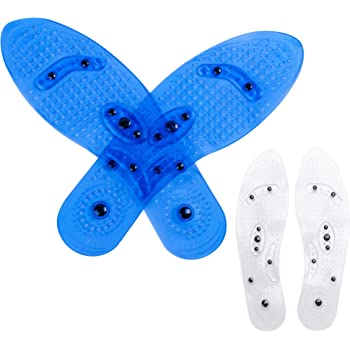 [2 Pairs ]Massaging Insoles, Acupressure Magnetic Massage Foot Therapy Reflexology Pain Relief Shoe Insoles Washable and Cutable (Transparent and Blue)