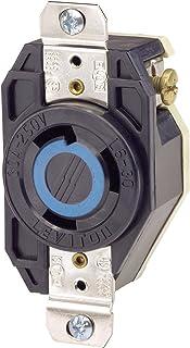 Leviton 2620 30 Amp, 250 Volt, Flush Mounting Locking Receptacle, Industrial Grade, Grounding, V-0-MAX, Black