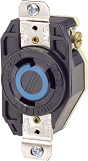 Leviton 2620 30 Amp, 250 Volt, Flush Mounting Locking Receptacle, Industrial Grade, Grounding, V-0-MAX, pack of 1, Black
