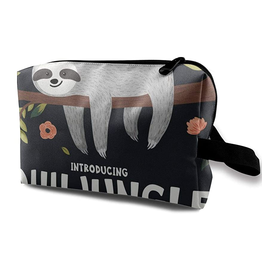 魅力圧力識別するCute Baby Sloth On The Tree 収納ポーチ 化粧ポーチ 大容量 軽量 耐久性 ハンドル付持ち運び便利。入れ 自宅?出張?旅行?アウトドア撮影などに対応。メンズ レディース トラベルグッズ