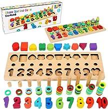 CozyBomB چوبی پازل شماره چوبی مرتب سازی اسباب بازی های Montessori برای کودکان نوپا - بازی شکل Sorter Color for Age 3 4 5 Kid - بلوک انباشت ریاضی آموزش و پرورش پیش دبستانی - بلوک یادگیری چوب - یادگیری اسباب بازی های چوبی - هدیه هیئت مدیره اره منبت کاری اره