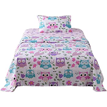 Fun Colorful and Comfortable Boys and Girls Toddler Sheet Sets Deep Pocket Wrinkle Free Hypoallergenic Soft and Cozy Bedding Owls 1500 Supreme Kids Bed Sheet Collection Full