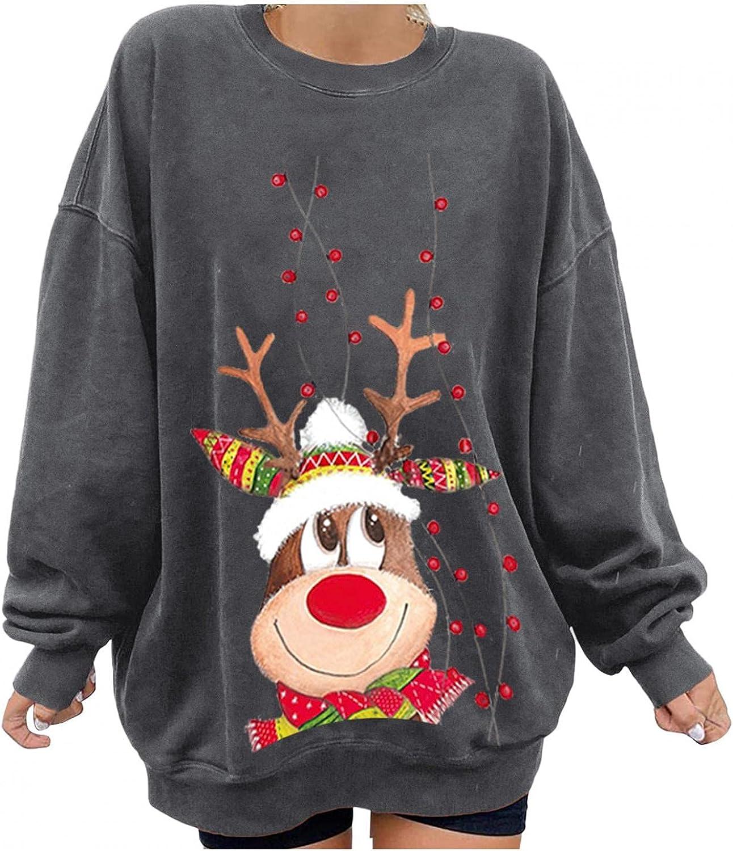 Vedolay Christmas Womens Sweatshirt, Women's Long Sleeve Cute Print O Neck Tops Blouse Shirts Tunic