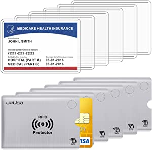 6 Pack New Medicare Card Protector Sleeves and 6 Pack RFID Blocking Card Sleeves for Insurance, Social, Security, Metro, License, Credit Cards