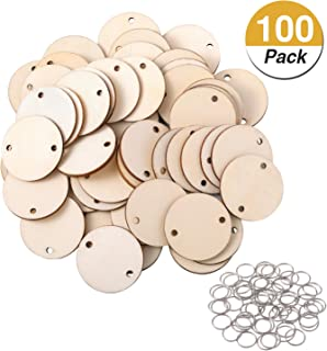 Favide 100 Pieces Wooden Circles Tags with Holes and 100 Pieces 12 mm Rings for Birthday Boards, Valentine, Chore Boards, Arts and Crafts (Style 1)