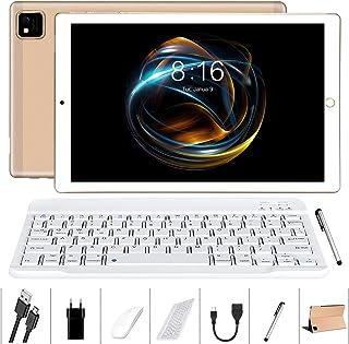 Tablette 10 Pouces Android 10.0 - YUMKEM 4Go RAM 64Go ROM Tablettes Tactile avec 8 Cœurs 1,6 GHz | WiFi | Bluetooth | GPS | MicroSD 4-128 Go, avec Clavier/Souris/Étui pour Tablette - Gold