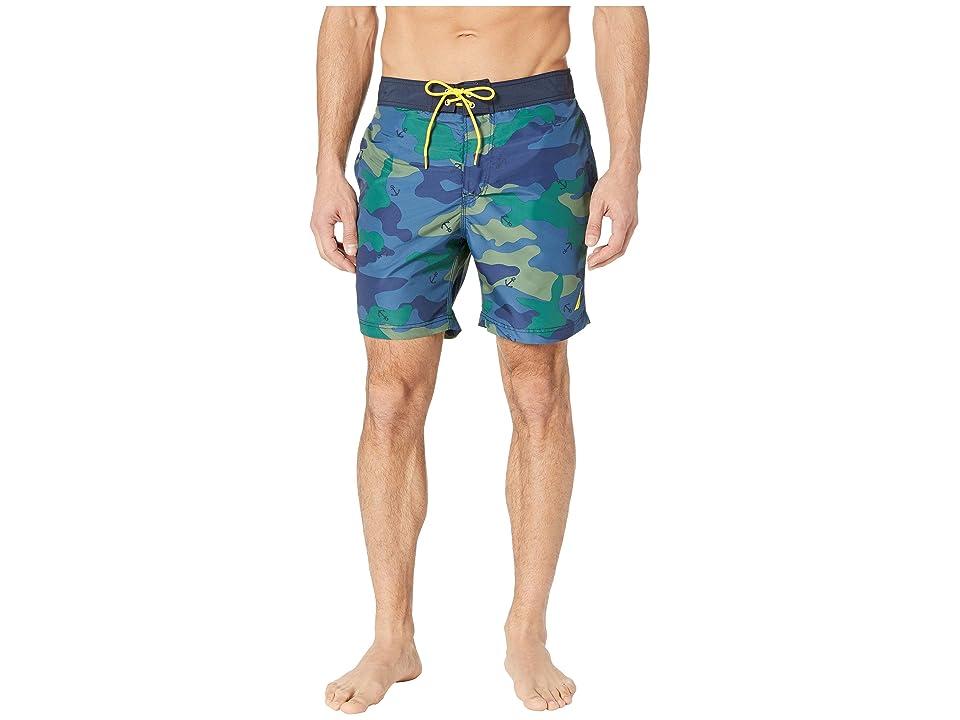 Nautica Camo Print Swim Trunk (Ensign Blue) Men's Swimwear