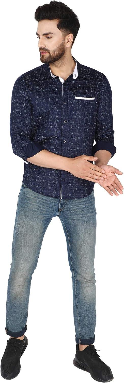 SKAVIJ Men's Printed Dress Shirt Slim Fit Button Down Long Sleeve Casual Shirt