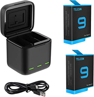 TELESIN GoPro Hero 9 black 用互換バッテリー3個 ボックス収納式 USB充電器付き 3個バッテリーケース付き Type-Cインターフェイス 3個同時充電可能 (充電器+2バッテリー+type-c)