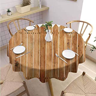 Decorative Round Tablecloth Farmland Restaurant Decoration Triangle Edged Timber Border Stripes Siding Woodwork Enclosing Tool Image Art,Round - 71 inch White Brown