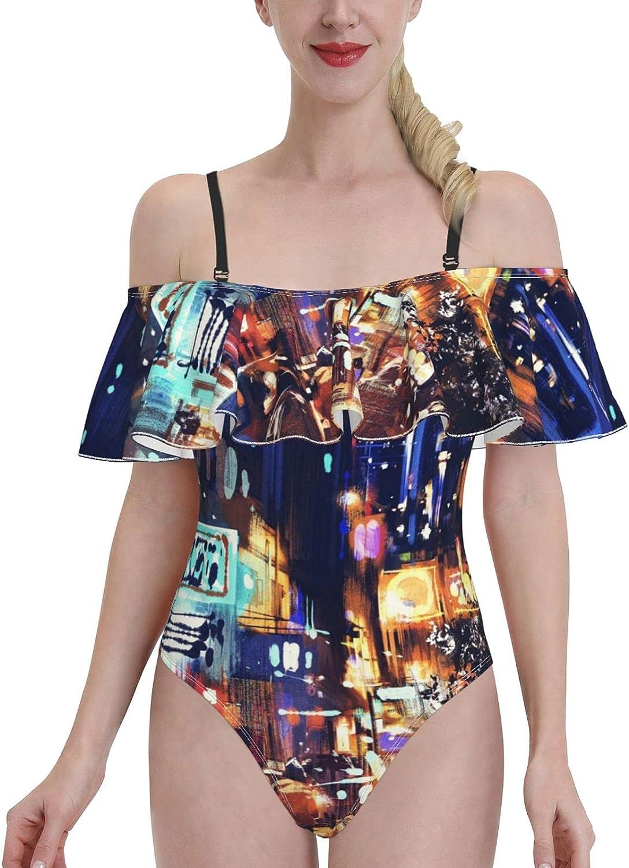 Women's One Piece Flounce mart Swimsuit Swimdress Ultra-Cheap Deals Night Shoulder Off