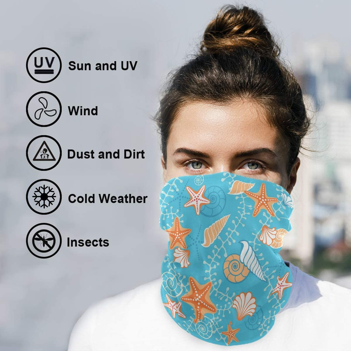 SUABO Face Sun Dust Scarf Sea Pattern Neck Gaiter Headwear Headband for Cycling Fishing Hiking Camping