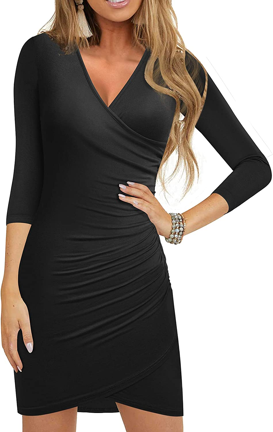 HOMEYEE Women's Casual V Neck Ruched Faux Wrap Bodycon Party Dress B544