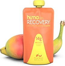 Huma Gel Post Workout Recovery Smoothie, 6 Pouches, Mango Banana - 14g Complete Protein in Ready to Drink Shake