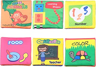 Cloth Book Colorful Non-Toxic Baby Soft Books Tear Resistant Early Education Learning Toys Washable for Newborns Infants Toddlers, Pack of 6
