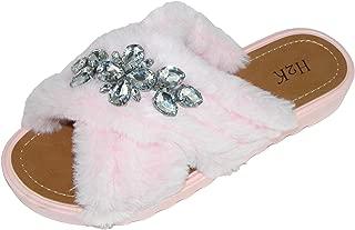 H2K Lora Junior Girl Hot Pink Faux Fur Slides Slipper Open Toe Sandal Shoe