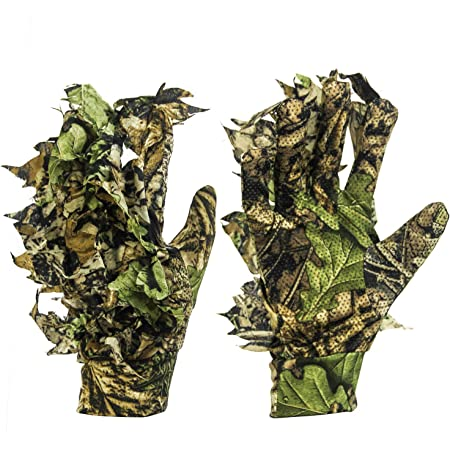 GUGULUZA 3D Camo Gloves, Outdoor Camouflage Hunting Gloves, Leaf Camouflage Suit, Woodland Camouflage Gloves