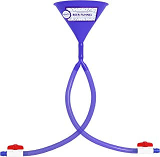 Beer Bong Double Header - Best Double Beer Funnel with Valves for College Parties - 2 Foot Blue Beer Bong - by Univercity